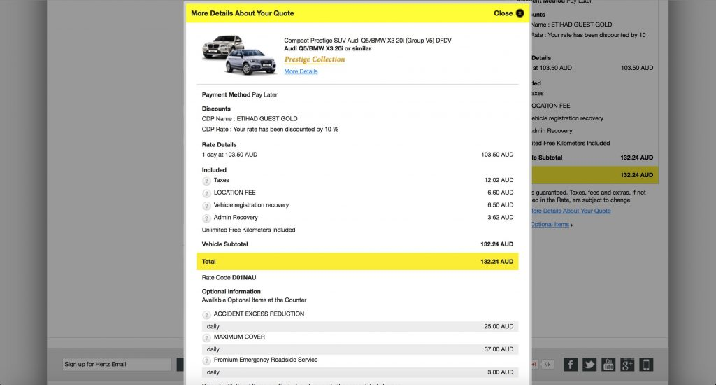 Hertz Booking Process