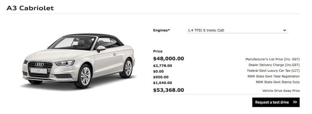 Audi A3 Pricing