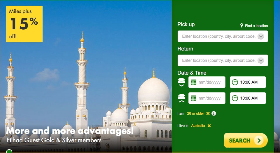 Europcar Booking Through Etihad